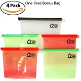 Reusable Silicone Food Bags Set | 4-Pack Plus Bonus Large Bag - FREE E-Book | BPA Free, Food Grade, Airtight, Vegetable Preservation Bag | Sous Vide | Lunch, Snack, Sandwich, Freezer-by That Life Shop