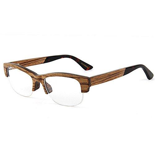 Gafas Sol de de Gafas Sol Adult Hechas para cuadradas Gafas Gafas Clásicas Hombres Calidad Original Eyewear Mano de Wayfarer Madera de de Ocio Artísticas KOMEISHO semiairimétricas Marrón a Alta Diseñador TqpET