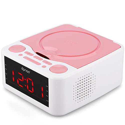 DPNAO CD Player Home Audio System with USB FM Radio Clock Dual Alarm Remote Headphone Jack for girls kids (Pink)
