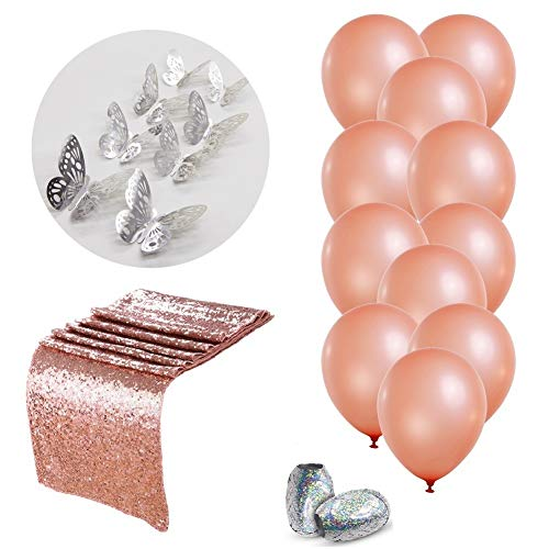 Rose Gold Balloons 12inch x 30pc Bachelorette Table Party Decorations Table Runner Party Supplies