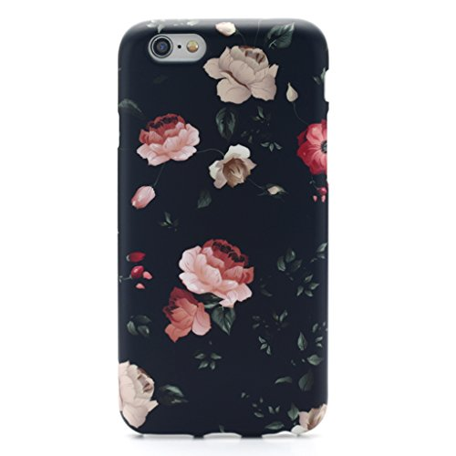 GOLINK iPhone 6 Case for Girls/iPhone 6S Floral Case, MATTE Floral Slim-Fit Ultra-Thin Anti-Scratch Shock Proof Dust Proof Anti-Finger Print TPU Case for iPhone 6/iPhone 6S (4.7 inch) - Flower Black