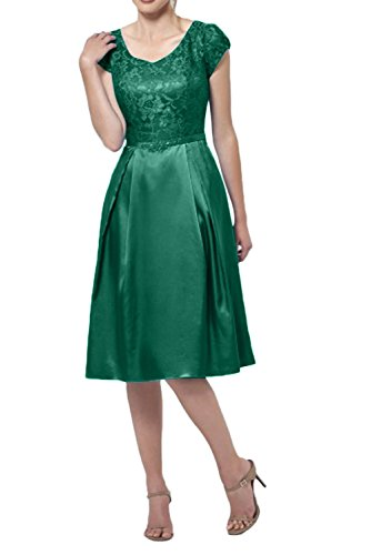 v Ausschnitt Abendkleider Jaeger Spitze Gruen mia Kurzes Kurzarm La Elegant Braut Brautmutterkleider Festlichkleider Knielang HnwIqxC