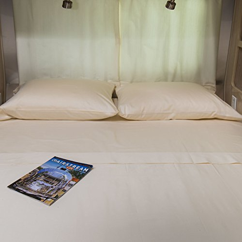 AB Lifestyles | USA-Made - Road Ready 34x78 Deep Pocket Twin Sheet Sets for AIRSTREAM: Ivory by AB Lifestyles