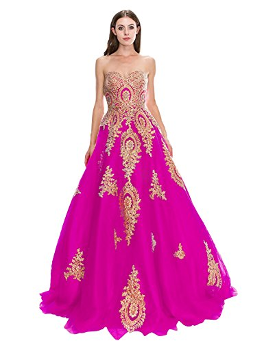 eabfc34dc3071 Women's Tulle Prom Dress Lace Applique Sweetheart Evening Formal Ball Gown  Fuchsia Custom Made