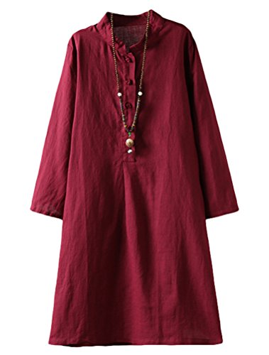 Linen Pullover - Minibee Women's Linen Retro Frog Button Blouse Loose Tunic Dress With Pockets Wine