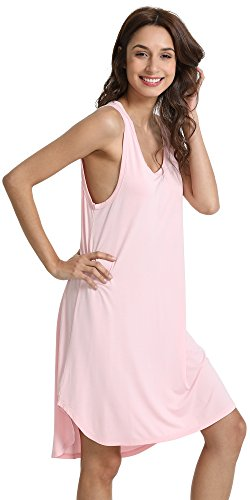 GYS Women's Soft Bamboo Scoop Neck Nightgown, Pink, Small ()