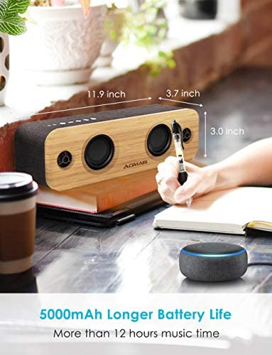 AOMAIS Life Bluetooth Speakers, 30W Loud Home Party Wireless Speaker, 2 Woofer & 2 Tweeters for Super Bass Stereo Sound, 100 Ft Bluetooth V5.0 and 12-Hour Playtime Subwoofer – Imitation Bamboo Panel 41vB4oiZh4L