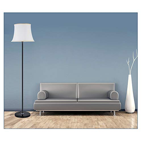 (Sofa Bell Shade LED Floor Lamp for Living Rooms - Modern, Standing Light & Contemporary Shade - Tall Pole Uplight for Offices, Bedrooms- LED Bulb Included - Bright Silver Finish+Marble Base (Black))