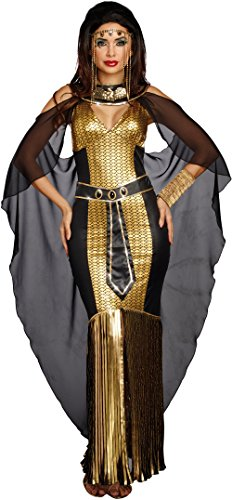 Dreamgirl Women's Egyptian Queen, Black/Gold, M