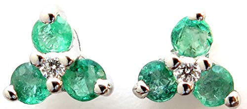 14k White Gold with Genuine Emerald=0.22CT and Diamond=.02 Stud Earrings ()