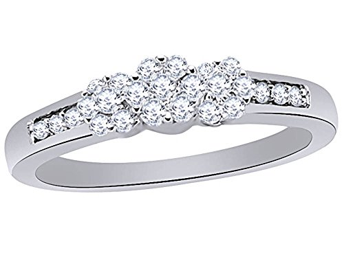 - Round Cut White Natural Diamond Triple Flower Ring in 10K White Sold Gold (0.20 Cttw)