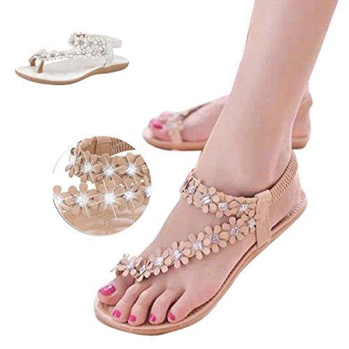 Flower Ankle Women Beige1 Rhinestone Ladies Thong Flats Sandals Bohemia Slingback Slipper Gaorui Strap Beach Slingback vwAxnqAR