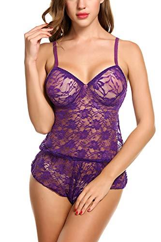 Avidlove Women Lace Lingerie Mesh Pajama Cami Shorts Set Babydoll Chemise (S, Style 3 Purple)