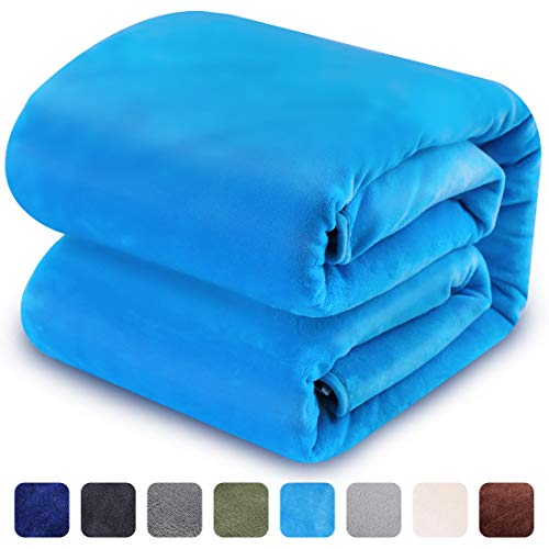 (LEISURE TOWN Soft Blanket King Size 3D AIR-Fiber Fleece Cooling Blankets for All Season Lightweight Warm Luxury Cozy Plush Throw Blanket for Sofa Bed Couch, 108 by 90 Inches, Lake Blue)