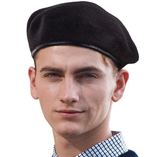 Military Beret Hat Knitted Beanie - Cool Black Beret Men Hat for Women Hat Cap ()