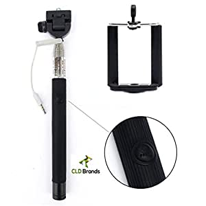 Best 2015 Adjustable Monopod - Built in Remote For Selfie Photos - Camera Stick - Includes Clamp Holder For iPhone and Smartphones - (Black)