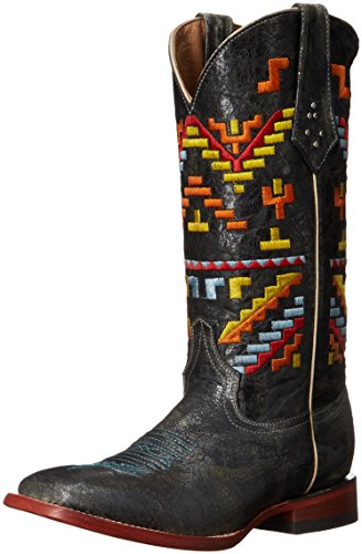 Ferrini Women's Ladies Aztec Cowgirl Square Toe Western Boot, Teal, 8 B US
