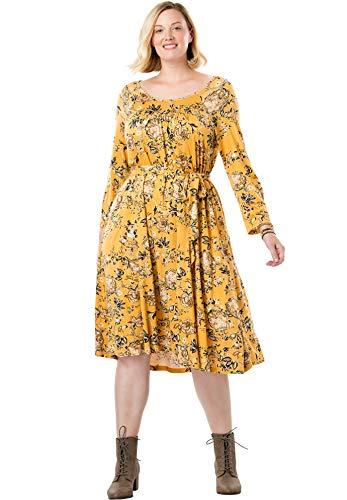 Chelsea Studio Women's Plus Size Belted Swing Dress - Honey Gold Floral, 3X