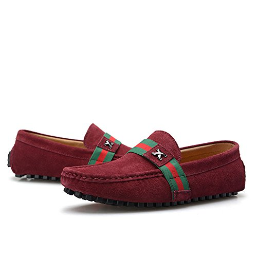 0028 Mens Shoes US7 Leather NATO Suede Burgundy Stylish Moccasins rismart Stripe Driving adTvnvq