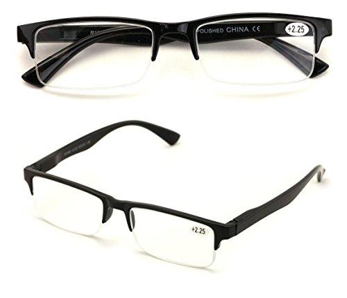 Plastic Half Frame - 2 Pairs Rectangular Half Rim Reading Glasses - Simple Classic Reader (Black, 2.25)