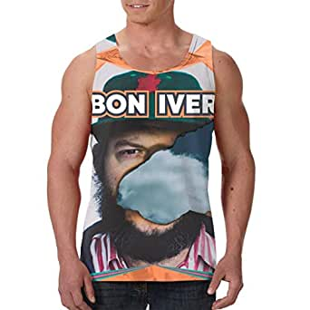 leenlznn bon iver men 39 s print sleeveless vest casual sports fitness vest shirt at amazon men s. Black Bedroom Furniture Sets. Home Design Ideas