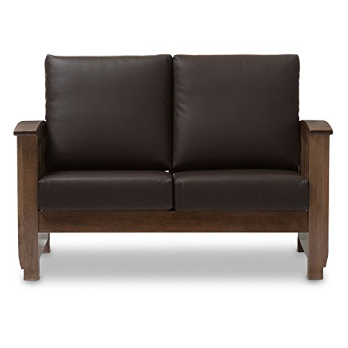 Faux Sofa Loveseat Leather (Baxton Studio Charlotte Faux Leather Loveseat in Dark Brown)