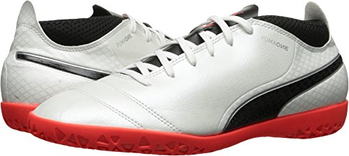 PUMA Men's One 17.4 IT Soccer Shoe, White Black-Fiery Coral, 9.5 M US