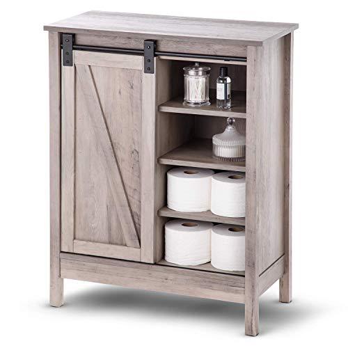 Landia Home Bathroom Storage Cabinet – Organization and Storage with Sliding Barn Door