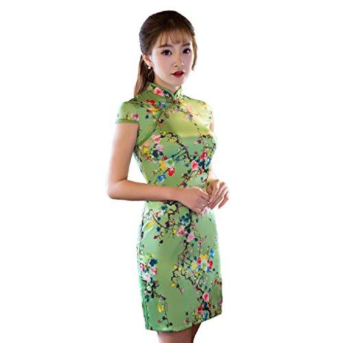 Womens Chinese Silk Cheongsam Dress - 6