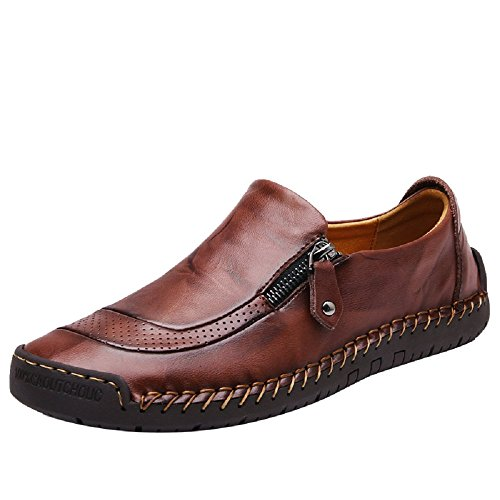 SuperDuo Men's 5709 Black/Light Brown Slip on Leather Fashion Casual Slip-on Flats Driving Loafers Shoes (10, Dark Brown)