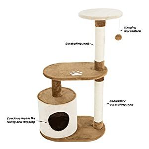 """PETMAKER Cat Tree Condo 3 Tier with Condo and Scratching Posts, 37.5"""", Brown and Tan"""