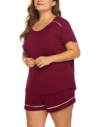 f1b25a09772 IN VOLAND Women s Plus Size Shorts Pajama Set Short Sleeve Sleepwear  Nightwear Loungewear Pjs Sets