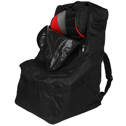 Full Size Car Seat Travel Bag - Black Carseat Carrier and Car Seat Bag for Airplane by Hope and Kisses