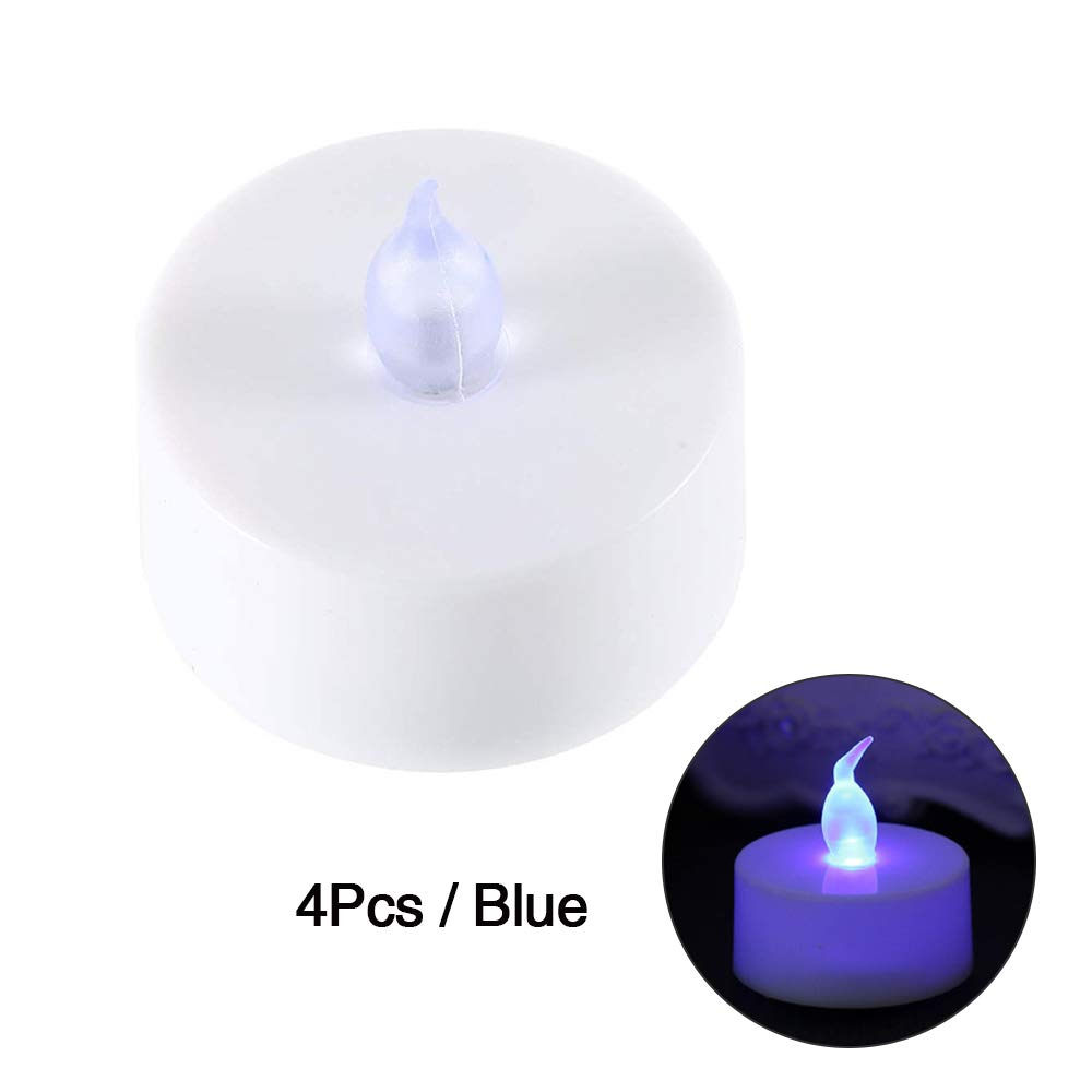 GerTong LED Candle Lights, 4 PCS Flameless Tealight Candles Multi Color Changing Battery Operated Led Tea Lights Decorations for Wedding Party Christmas Halloween (Blue)
