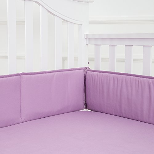 TILLYOU Baby Breathable Crib Bumper Pads for Standard Cribs Machine Washable Padded Crib Liner 100% Silky Soft Microfiber Polyester,4 Piece/Lilac (Bedding Separates Crib)