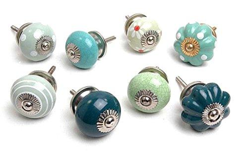 Zoya's 14 Shabby Chic Ceramic Cupboard Knobs Kitchen Door Knob Drawers Pulls ()