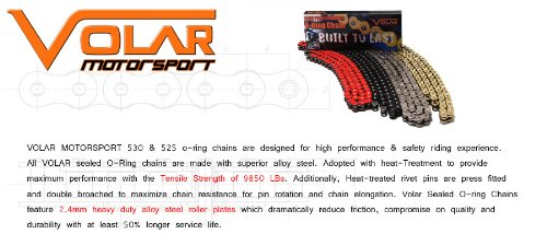 530 x 150 Links O-Ring Motorcycle Chain for Extended Swingarm - Black by Volar Motorsport, Inc