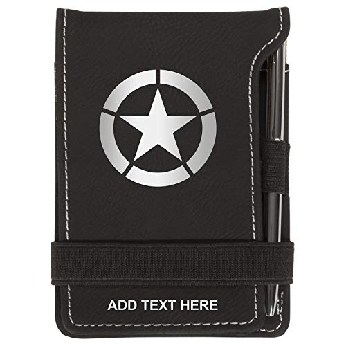 Personalized Mini Notepad Holder Set - Pocket Memo Pad Jotter Notebook Case - Includes Mini Note Pad & Pen to Jot Notes and Writing To Do List - WW2 Jeep Star, Black & Silver