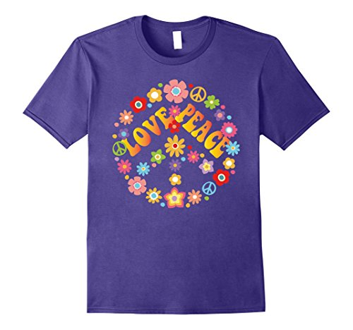 Mens PEACE SIGN LOVE T Shirt 60s 70s Tie Die Hippie Costume Shirt XL Purple - Mens 60s Fashion