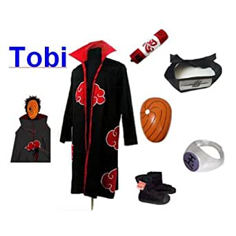 Naruto Itachi Tobi cosplay costume and shoes set , size L