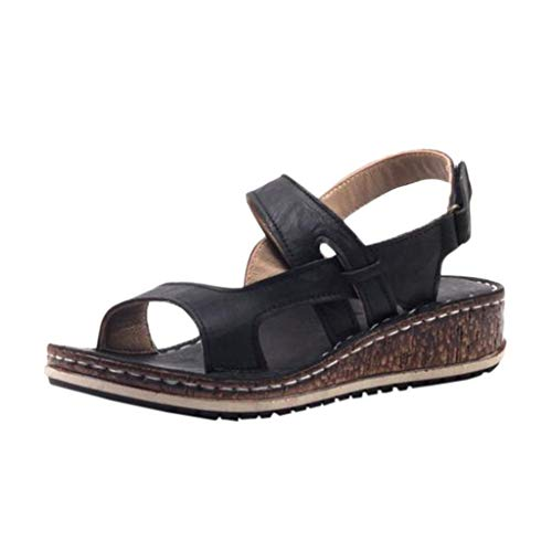 COOlCCI_2019 New Womens Casual Espadrilles Trim Rubber Sole Flatform Buckle Ankle Strap Open Toe Sandal Heeled Sandals Black ()
