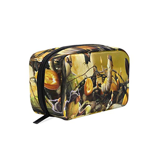 Cosmetic Bag Halloween Cute Wallpaper Customized Makeup Bags Square Organizer Portable Pouch Pencil Storage Case for -