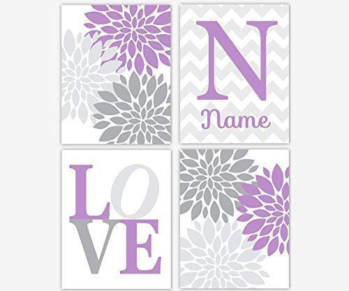 Baby Girl Nursery Wall Art Lavender Gray Purple Personalized Art Flower Burst Girl Room Floral Wall Decor Baby Girl Room Flower Wall Decor Prints LOVE Dahlia Mums SET OF 4 UNFRAMED PRINTS
