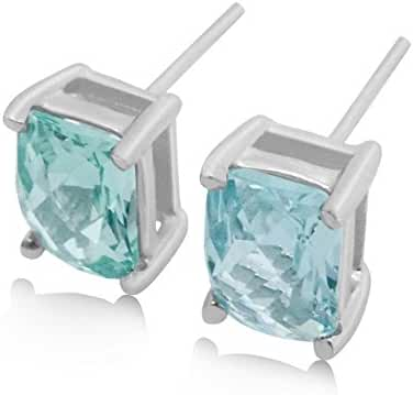 Mint Green Spinel Stud Earrings - 3 CT Total, Claw Set in 925 Sterling Silver Post
