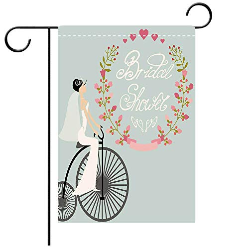 BEICICI Custom Personalized Garden Flag Outdoor Flag Bridal Shower Decorations Bride in Wedding Dress with Bicycle Flowers Charcoal Grey and Baby Blue Best for Party Yard and Home Outdoor Decor ()