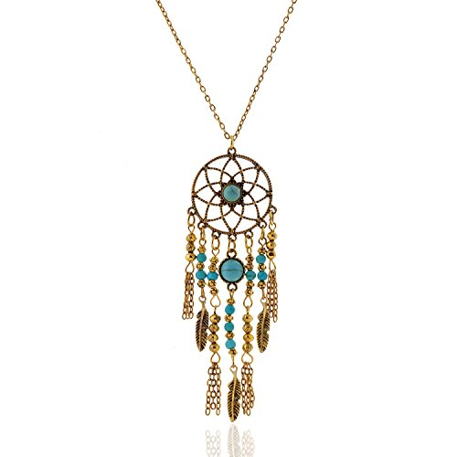 LUREME Native American Dream Catcher Turquoise Pendant Long Chain Necklace (01003467) (Antique Gold)