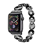 Crystal Wristbands Watch Band Compatible for Apple iWatch Series 4 40mm, Alloy Replacement Watch Band Wristband Strap 5 Style Available (Series 4 40mm Black)
