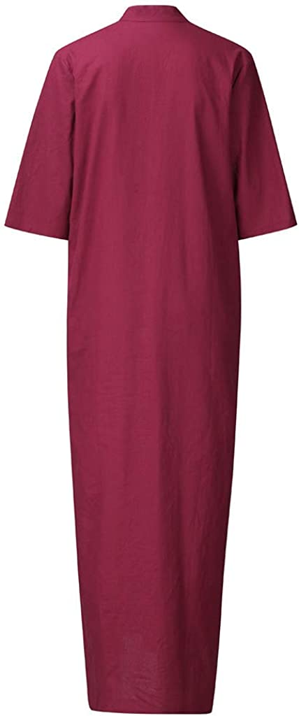 YKARITIANNA Womens Fall Casual Fashion Solid Color Half Sleeve Stand Neck Dress 2019 Summer