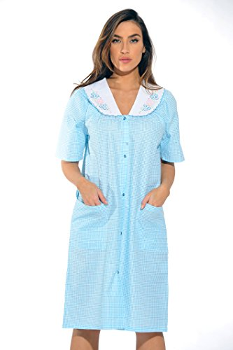 (8511-Royal-XL Dreamcrest Short Sleeve Duster/Housecoat / Women Sleepwear)