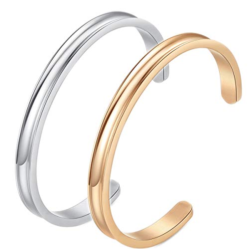 Hair Tie Bracelets - Stainless Steel Cuff Bangle Bracelet, High Polished Metallic Brushed Edges for Women Girls (Silver+Rose Gold)